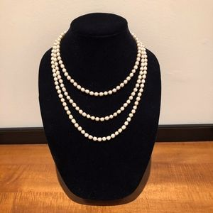 Vintage Chanel Opera Length Glass Pearl Necklace